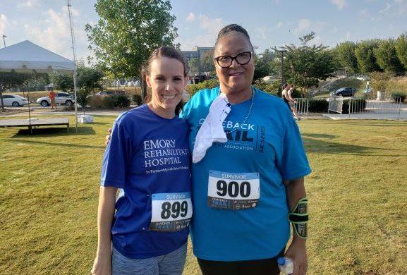 Two Female Stroke Survivors pose at stroke fundraiser
